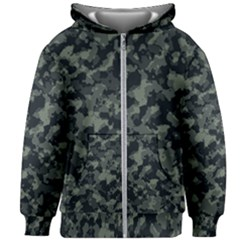 Camouflage In Green Kids  Zipper Hoodie Without Drawstring
