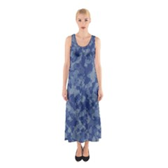 Camouflage In Blue Sleeveless Maxi Dress