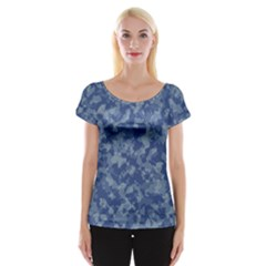 Camouflage In Blue Cap Sleeve Top