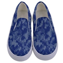 Camouflage In Blue Kids  Canvas Slip Ons