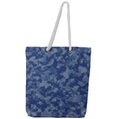 Camouflage In Blue Full Print Rope Handle Tote (large)