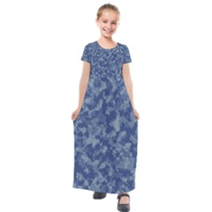 Camouflage In Blue Kids  Short Sleeve Maxi Dress by TimelessFashion