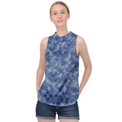 Camouflage In Blue High Neck Satin Top