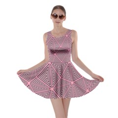 Chaos Of Triangles In Pink Skater Dress