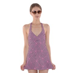Chaos Of Triangles In Pink Halter Dress Swimsuit  by FEMCreations