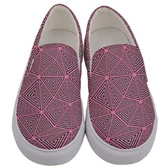 Chaos Of Triangles In Pink Men s Canvas Slip Ons