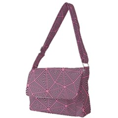 Chaos Of Triangles In Pink Full Print Messenger Bag