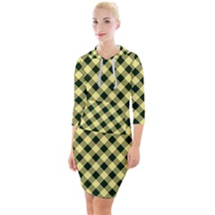 Checkers 1 Quarter Sleeve Hood Bodycon Dress by TimelessFashion