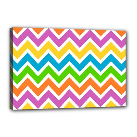 Chevron Of The Rainbow Canvas 18  X 12  (stretched)