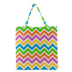 Chevron Of The Rainbow Grocery Tote Bag by TimelessFashion