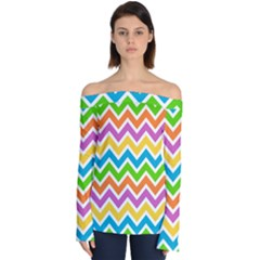 Chevron Of The Rainbow Off Shoulder Long Sleeve Top by TimelessFashion