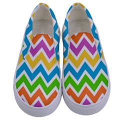 Chevron Of The Rainbow Kids  Canvas Slip Ons