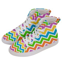 Chevron Of The Rainbow Women s Hi Top Skate Sneakers by TimelessFashion