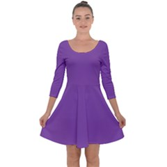 All Purple Quarter Sleeve Skater Dress