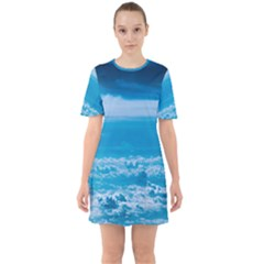 Cloudy Sky Sixties Short Sleeve Mini Dress by TimelessFashion