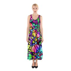 Color Network Sleeveless Maxi Dress