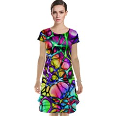 Color Network Cap Sleeve Nightdress