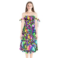 Color Network Shoulder Tie Bardot Midi Dress