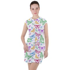 Colorfull Butterflies Drawstring Hooded Dress