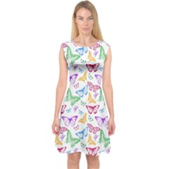 Colorfull Butterflies Capsleeve Midi Dress