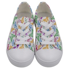 Colorfull Butterflies Kids  Low Top Canvas Sneakers