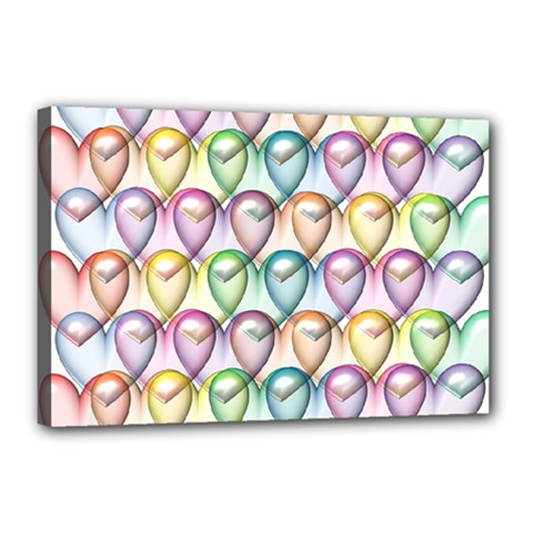 Colorfull Hearts Canvas 18  X 12  (stretched)
