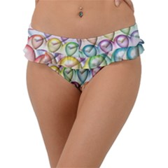 Colorfull Hearts Frill Bikini Bottom by TimelessFashion
