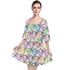 Colorfull Hearts Velour Kimono Dress