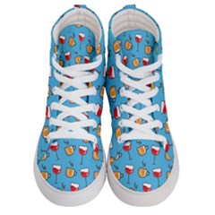 Cups And Glasses Blue Women s Hi Top Skate Sneakers