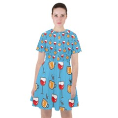 Cups And Glasses Blue Sailor Dress