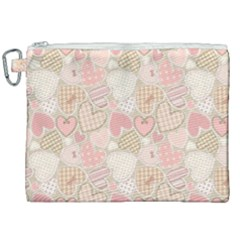 Cute Hearts Canvas Cosmetic Bag (xxl)