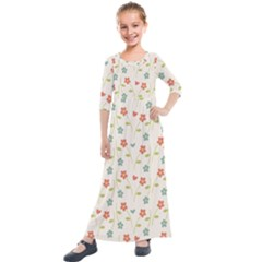 Cute Little Flowers Kids  Quarter Sleeve Maxi Dress