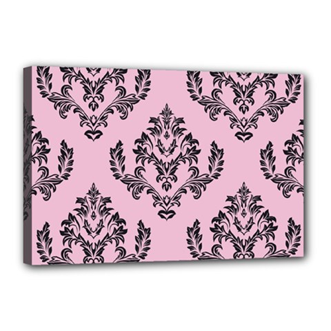 Damask Black On Pink Canvas 18  X 12  (stretched)