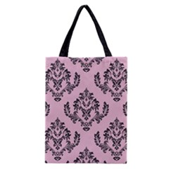 Damask Black On Pink Classic Tote Bag