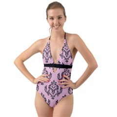 Damask Black On Pink Halter Cut Out One Piece Swimsuit