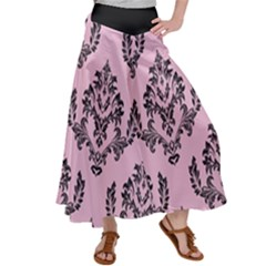 Damask Black On Pink Satin Palazzo Pants by TimelessFashion