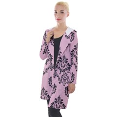 Damask Black On Pink Hooded Pocket Cardigan by TimelessFashion