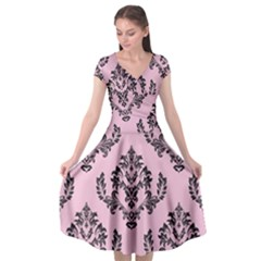 Damask Black On Pink Cap Sleeve Wrap Front Dress