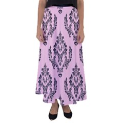 Damask Black On Pink Flared Maxi Skirt by TimelessFashion