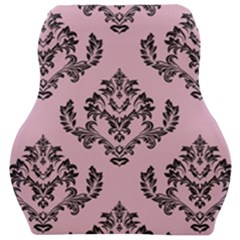 Damask Black On Pink Car Seat Velour Cushion  by TimelessDesigns