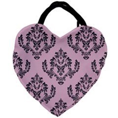 Damask Black On Pink Giant Heart Shaped Tote by TimelessFashion