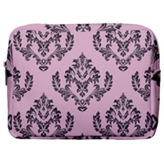 Damask Black On Pink Make Up Pouch (large) by TimelessFashion