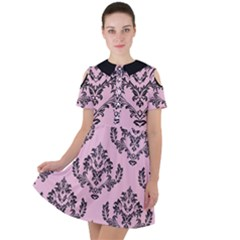 Damask Black On Pink Short Sleeve Shoulder Cut Out Dress
