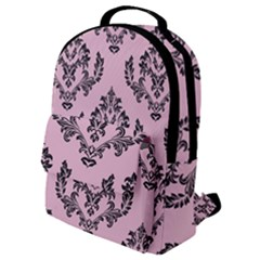 Damask Black On Pink Flap Pocket Backpack (small) by TimelessFashion
