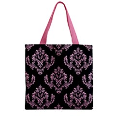 Damask Pink On Black Zipper Grocery Tote Bag by TimelessFashion
