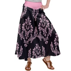 Damask Pink On Black Satin Palazzo Pants by TimelessFashion