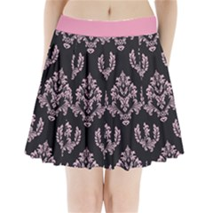 Damask Pink On Black Pleated Mini Skirt by TimelessFashion
