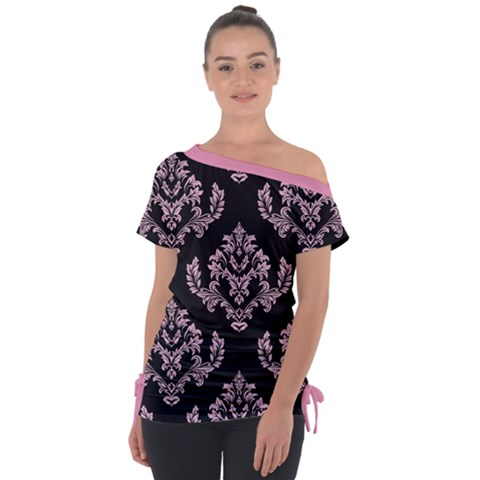 Damask Pink On Black Tie-up Tee by TimelessFashion