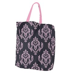 Damask Pink On Black Giant Grocery Tote