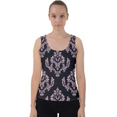 Damask Pink On Black Velvet Tank Top by TimelessFashion